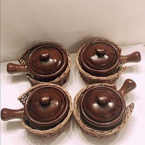 Set of 4 Vintage French Onion Soup Crockery